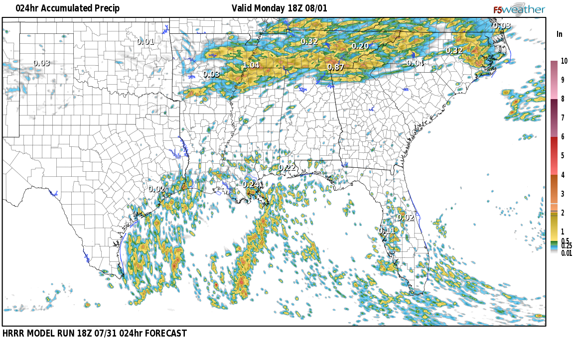 Regional 24 hour rainfall expected near Darling Landing, Alabama