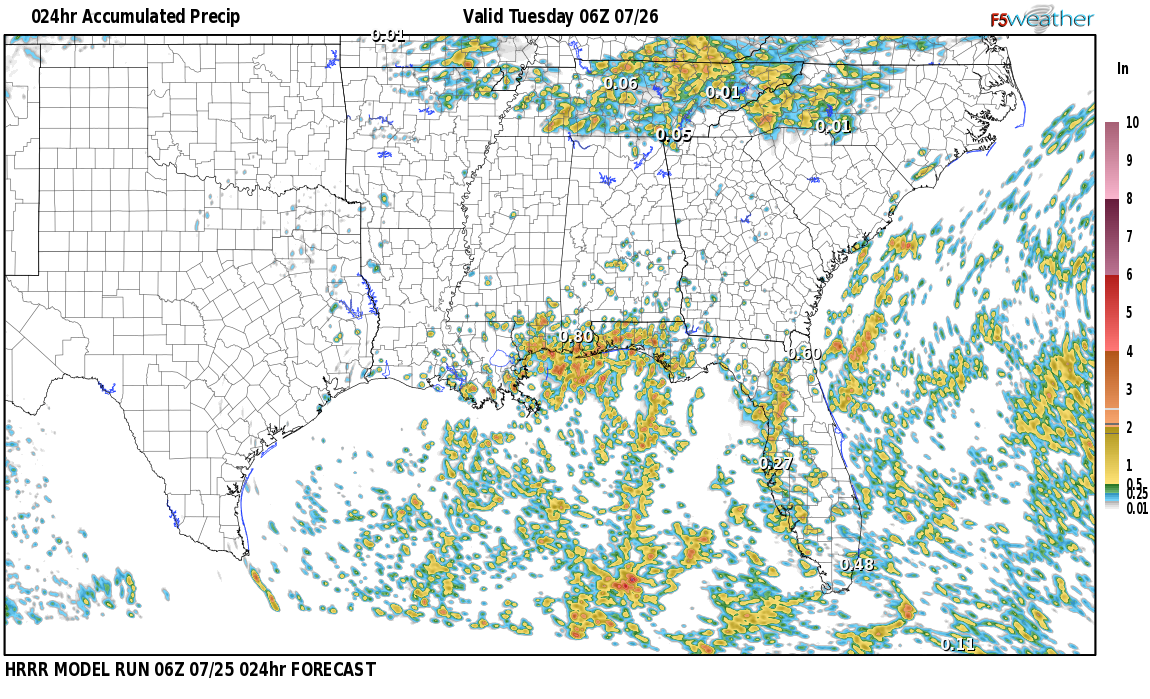 Regional 24 hour rainfall expected near Furman, Alabama