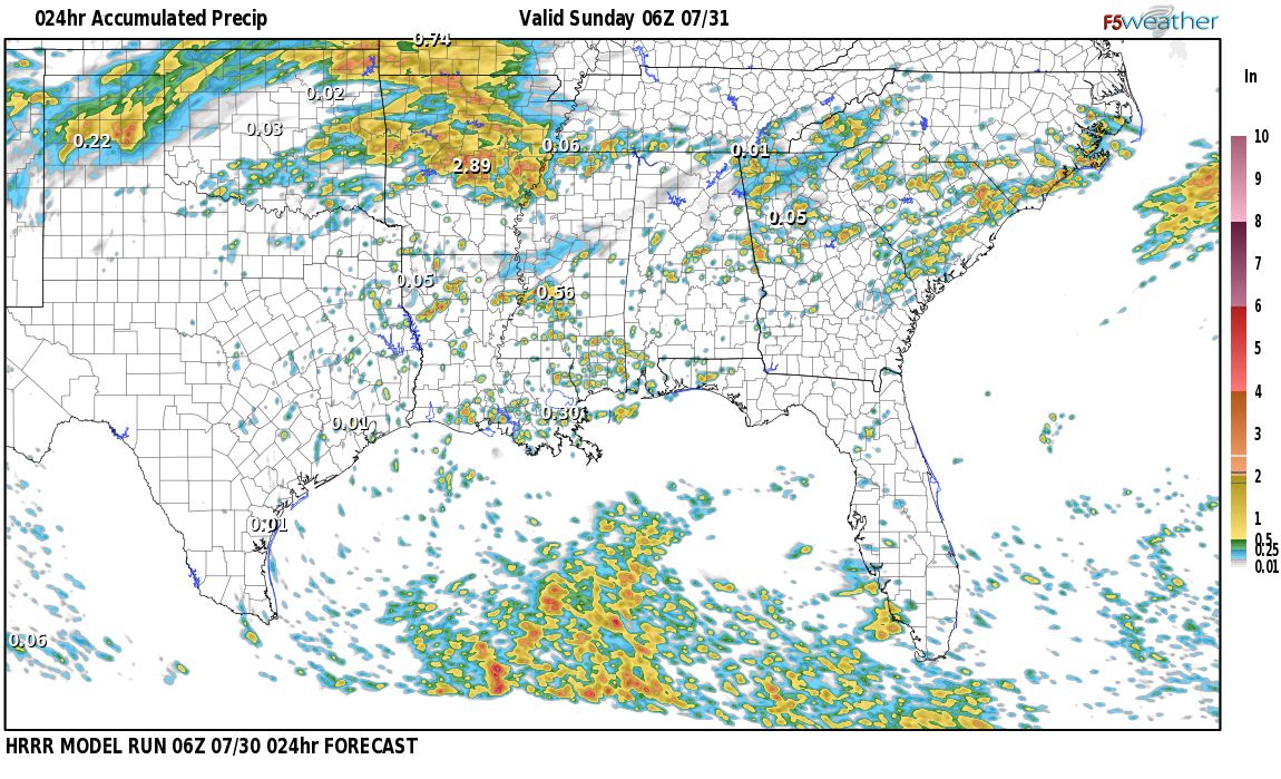 Regional 24 hour rainfall expected near Crumley Chapel, Alabama