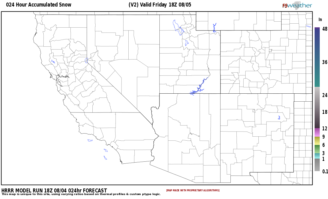 Area snowfall accumulation expected around Sandoval County, New Mexico