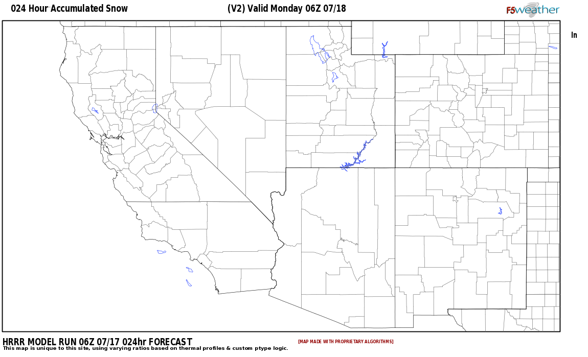 Area snowfall accumulation expected around Catron County, New Mexico