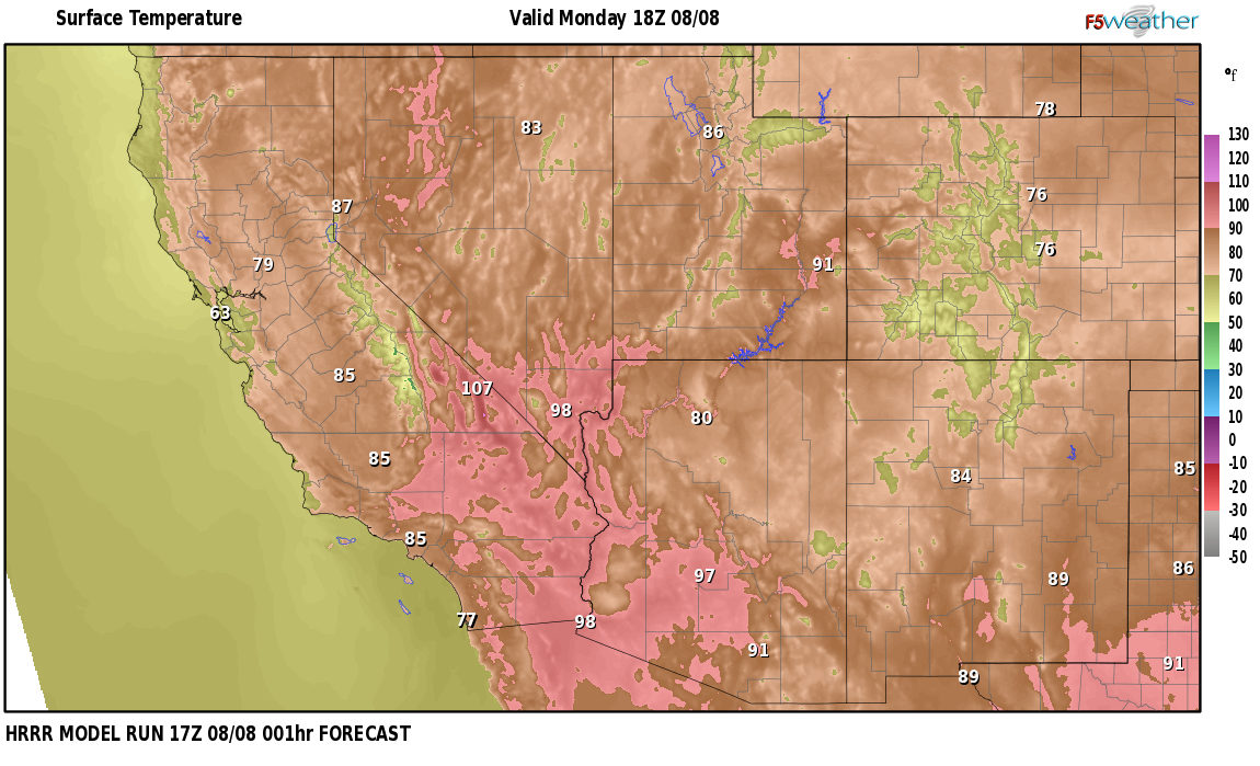 Temperatures right now near McLeans, Nevada