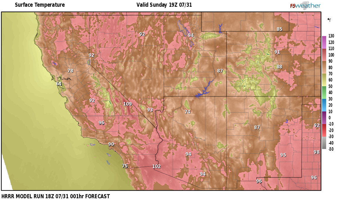 Temperatures right now near Lower Rochester, Nevada