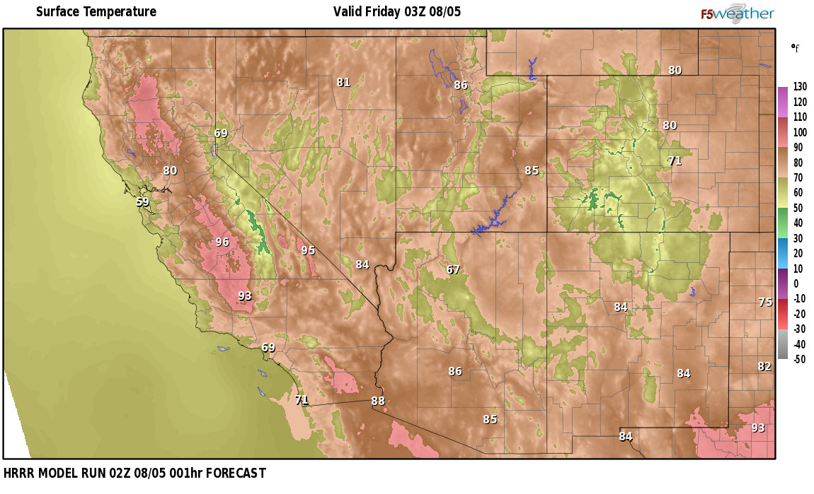 Temperatures right now near Gold Acres, Nevada