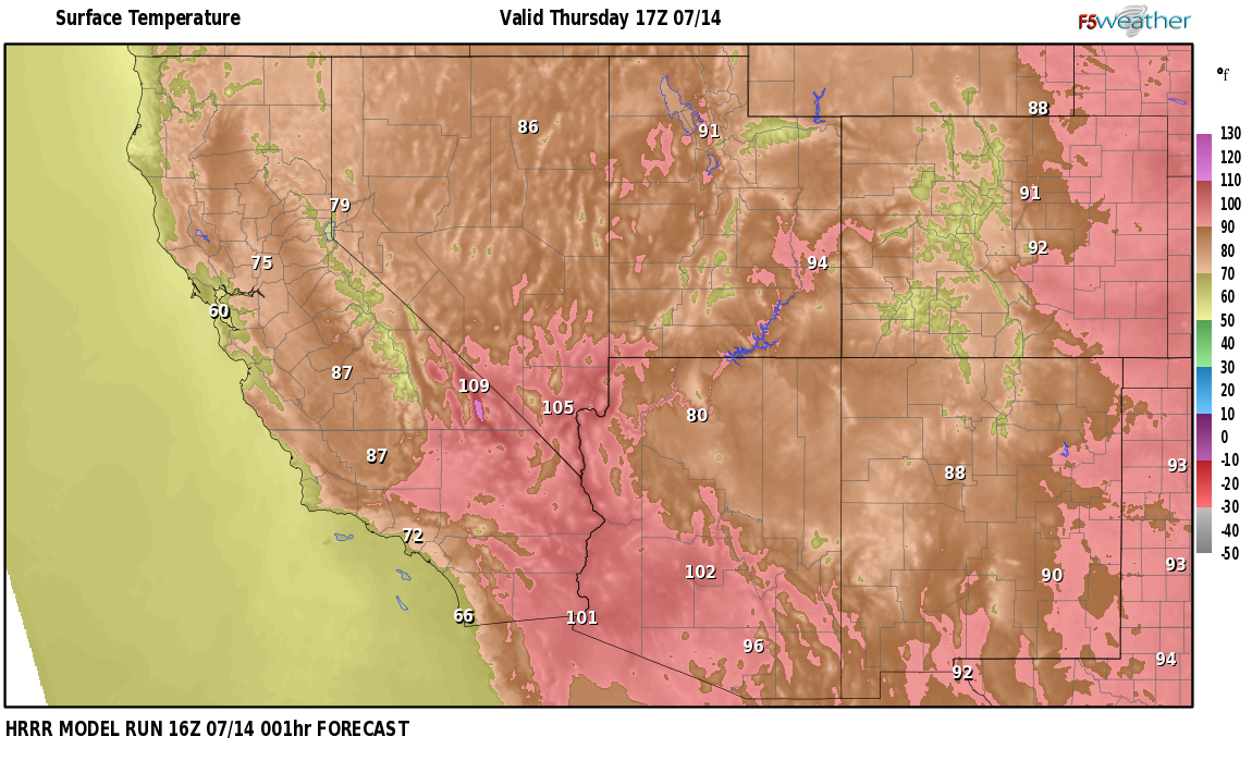 Temperatures right now near Calumet, Nevada