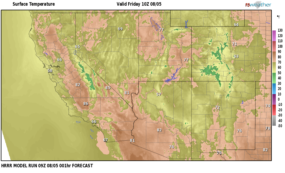 Temperatures right now near Saint Clair, Nevada