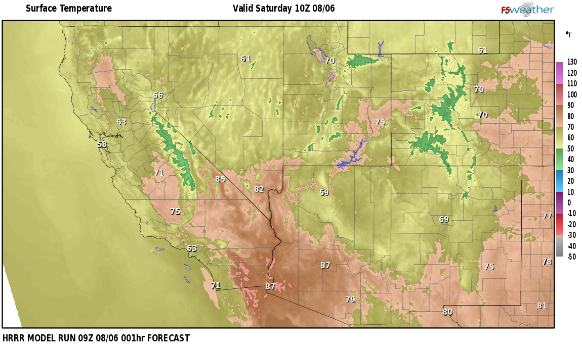 Temperatures right now near Show Low, Arizona