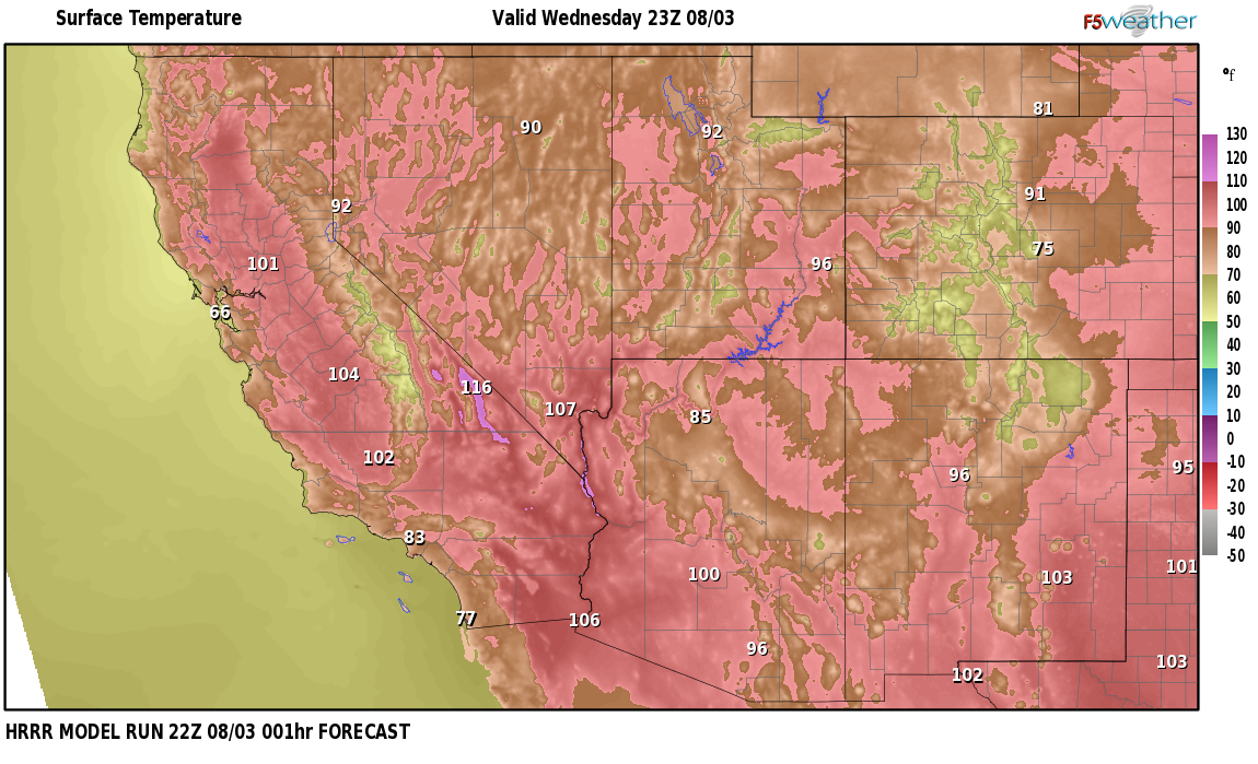 Temperatures right now near Beatty, Nevada