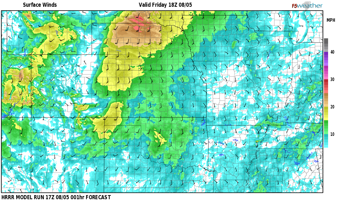 Surface wind speed map over French, NM