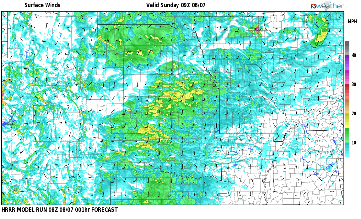 Surface wind speed map over Vadito, NM