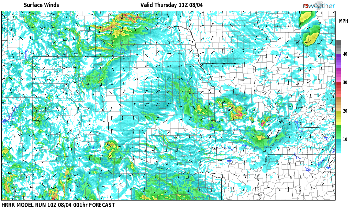 Surface wind speed map over Tres Ritos, NM