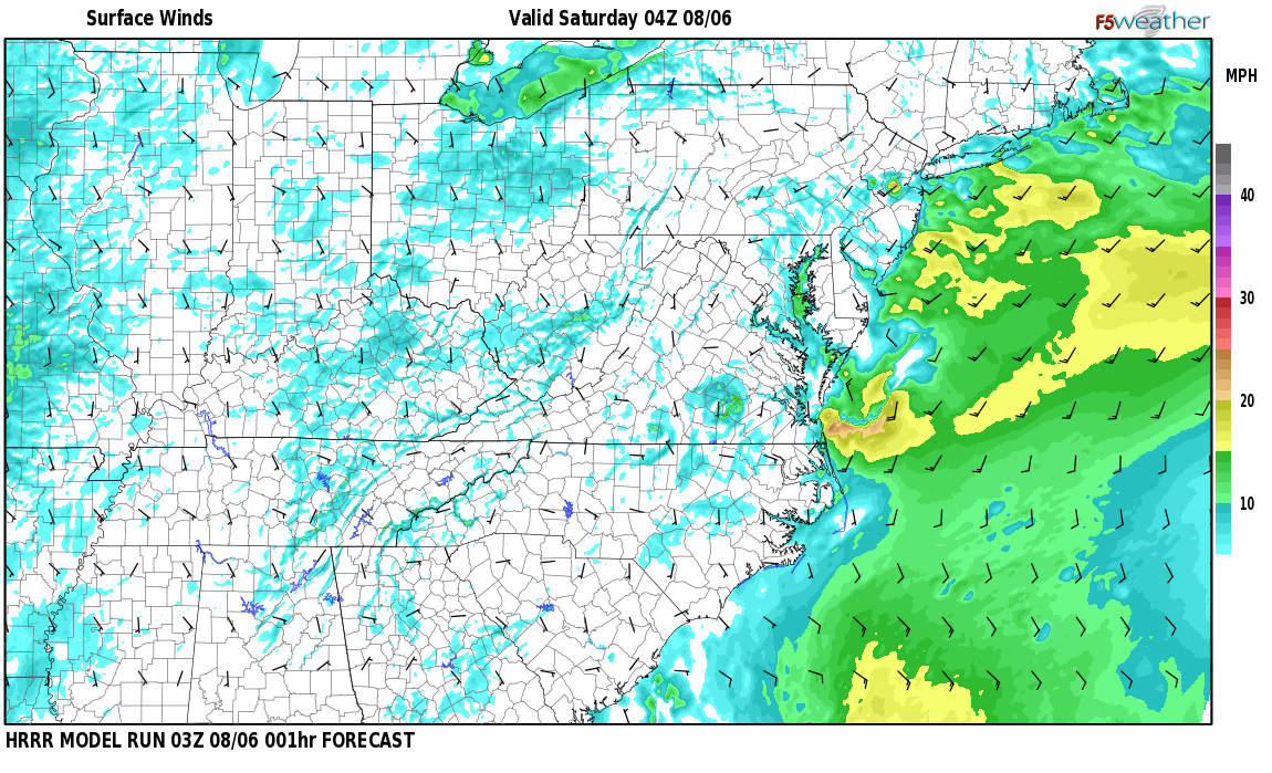 Surface wind speed map over Saylor, KY