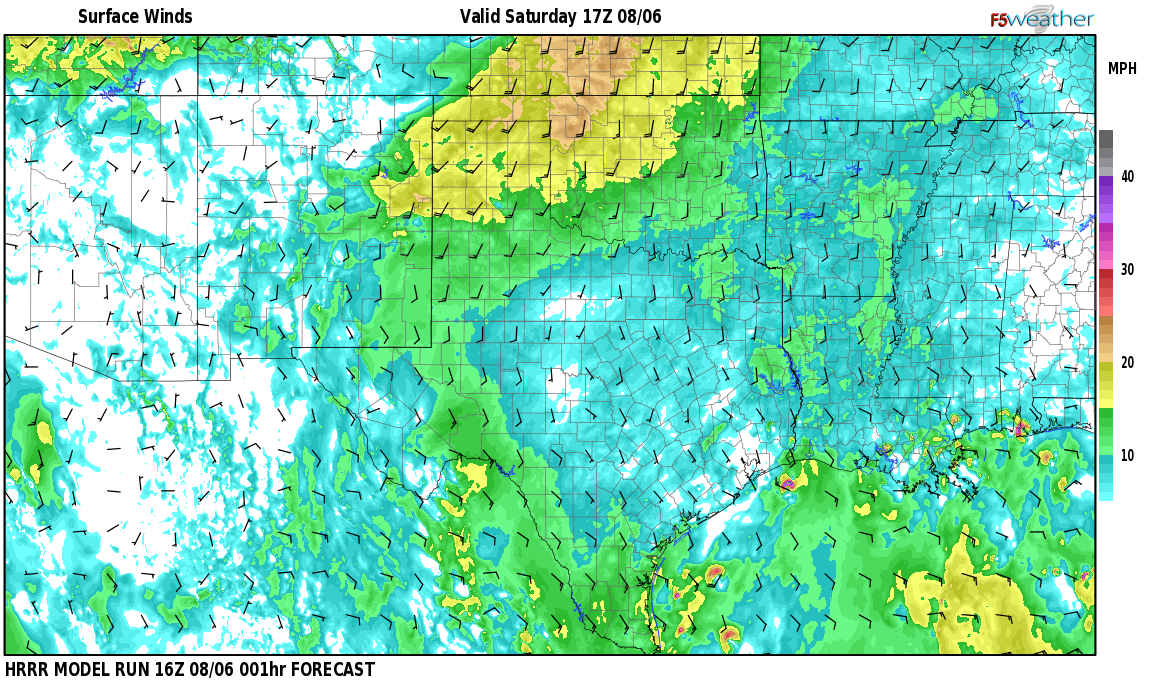 Surface wind speed map over Maypens, NM