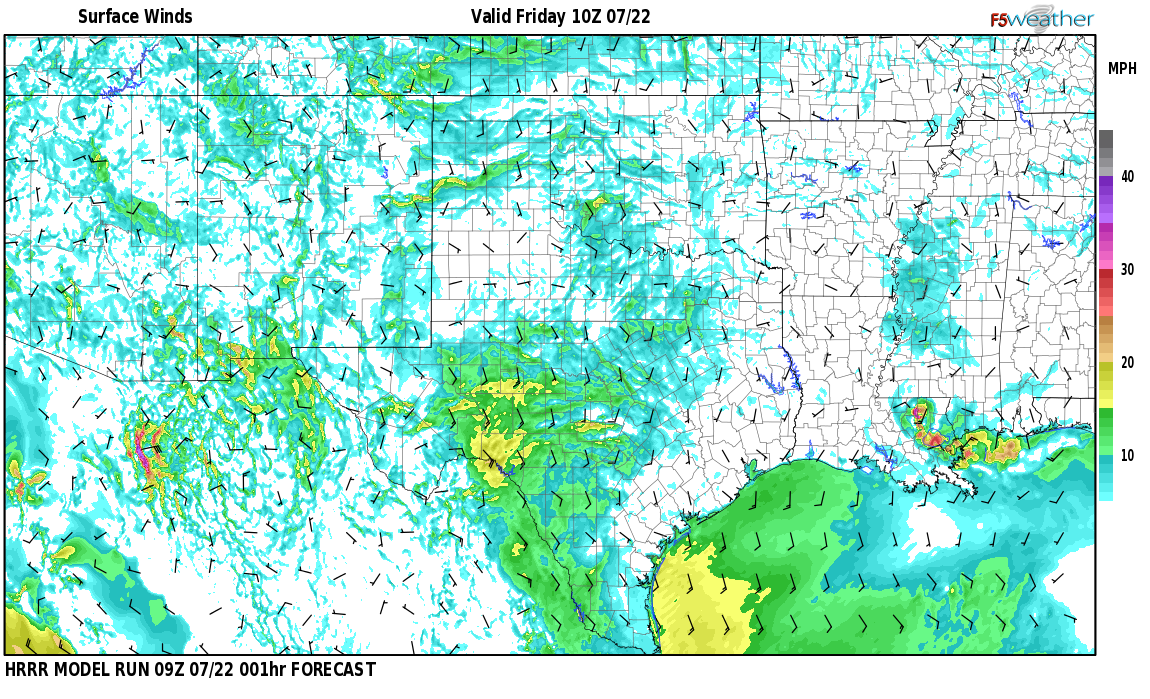Surface wind speed map over Grady, NM