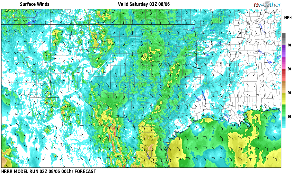 Surface wind speed map over Encinoso, NM