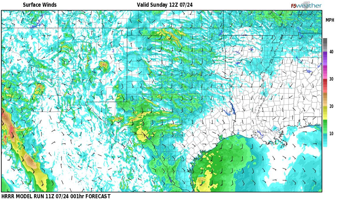 Surface wind speed map over Mountain Park, NM