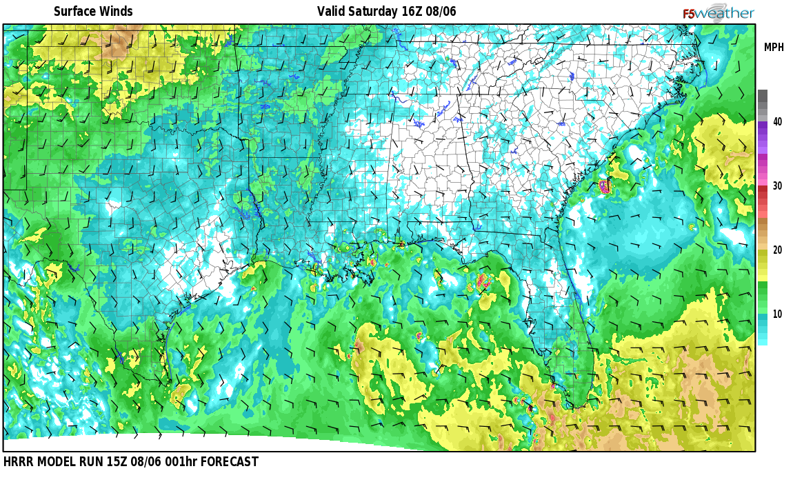 Surface wind speed map over Altadena Woods, AL