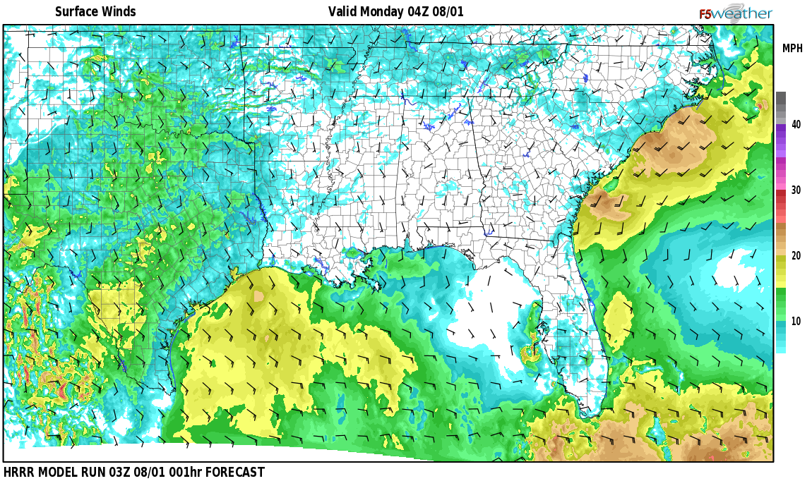Surface wind speed map over Fort Stoddard, AL