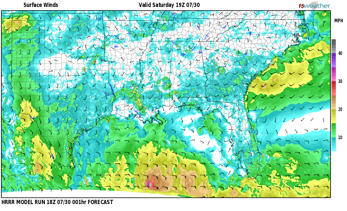 Surface wind speed map over Samson, AL