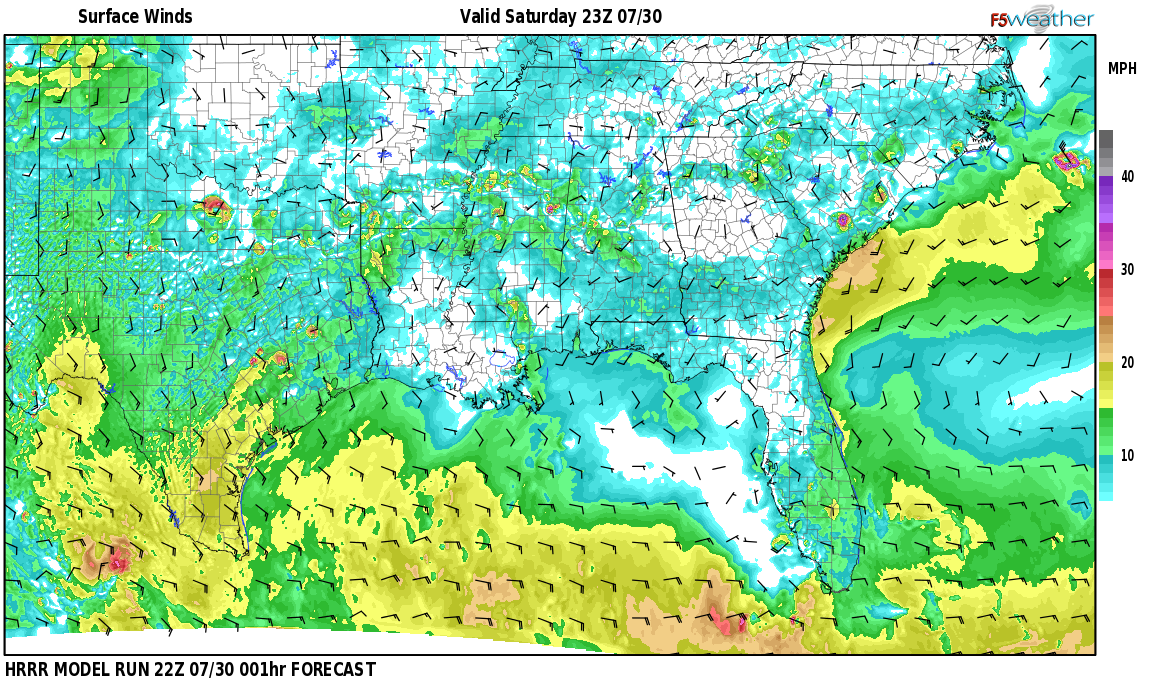 Surface wind speed map over Green Hills, AL