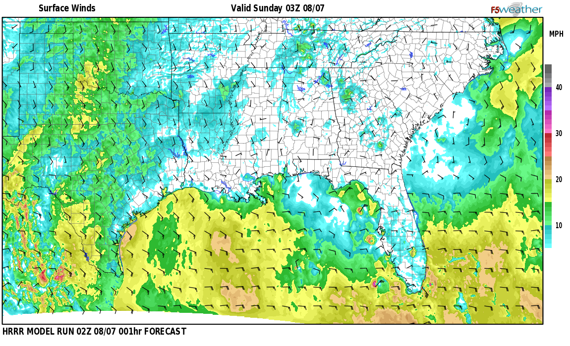 Surface wind speed map over Johns, AL