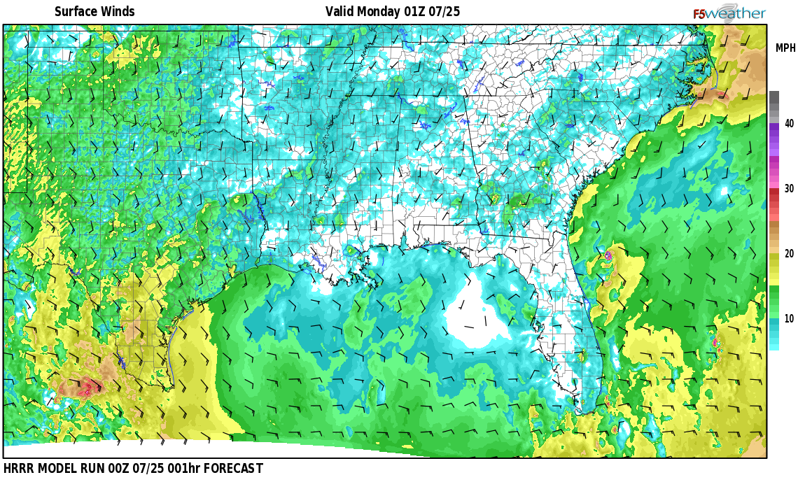Surface wind speed map over Bay Minette, AL