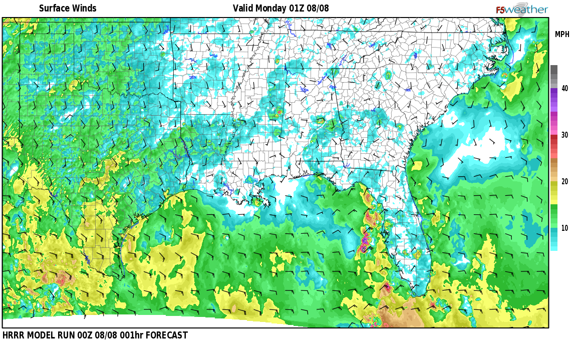 Surface wind speed map over Collbran, AL