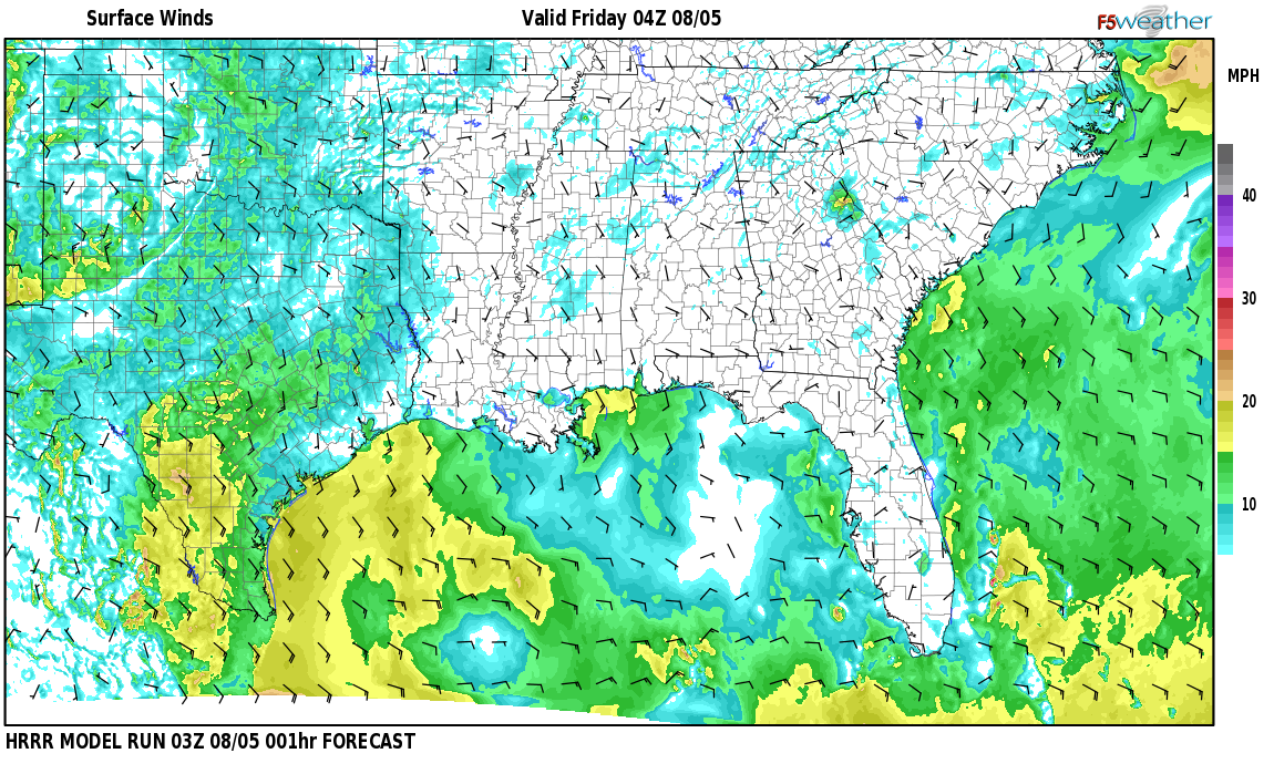 Surface wind speed map over Epes, AL