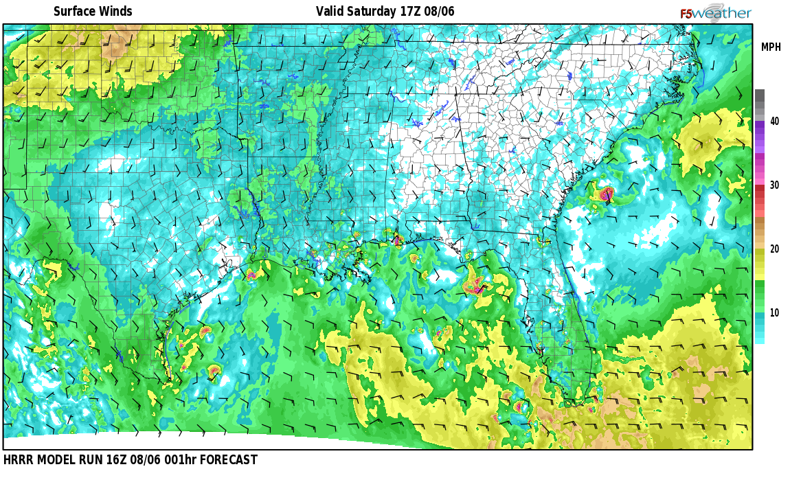 Surface wind speed map over Caswell, AL