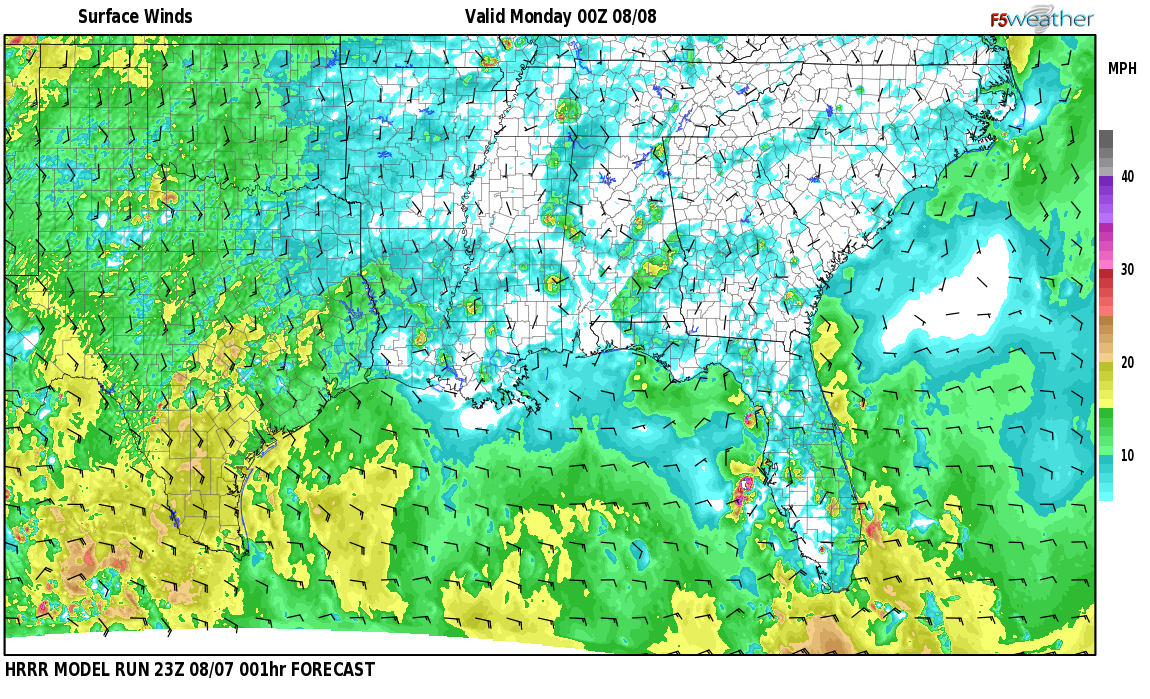 Surface wind speed map over Covey Chase, AL