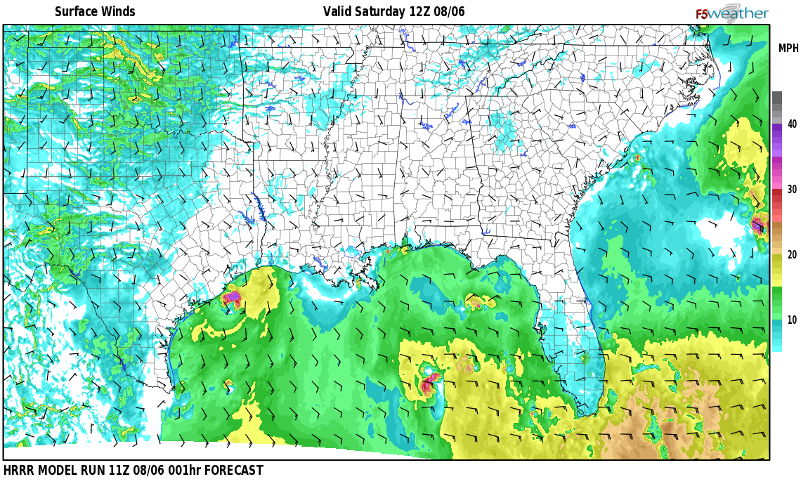 Surface wind speed map over D
