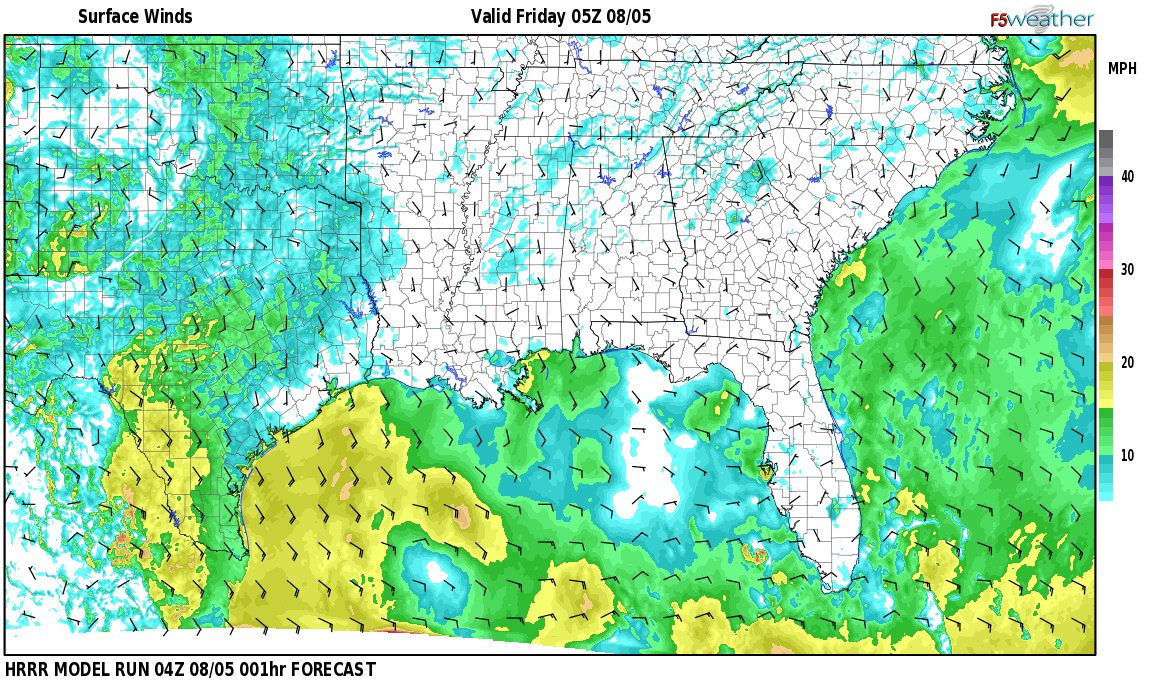Surface wind speed map over Godwin Estates, AL