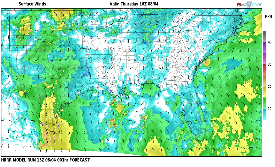 Surface wind speed map over Countrywood Highlands, AL
