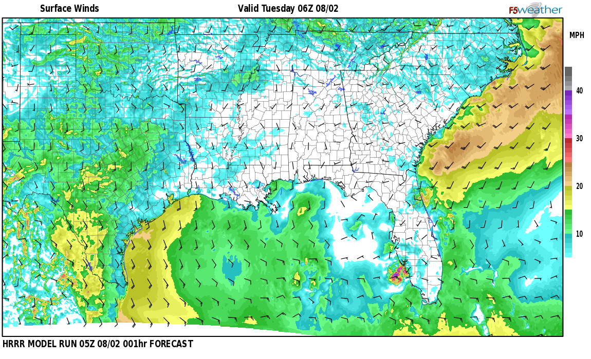 Surface wind speed map over Daphne, AL