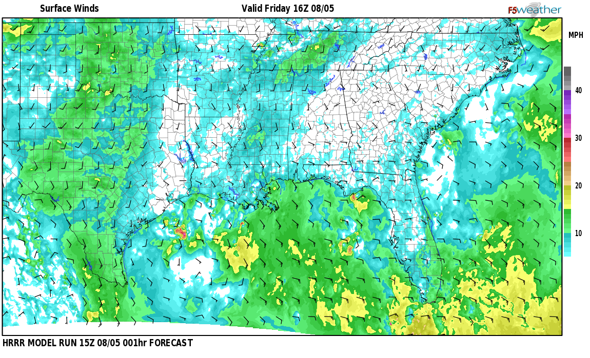 Surface wind speed map over Chrysler, AL