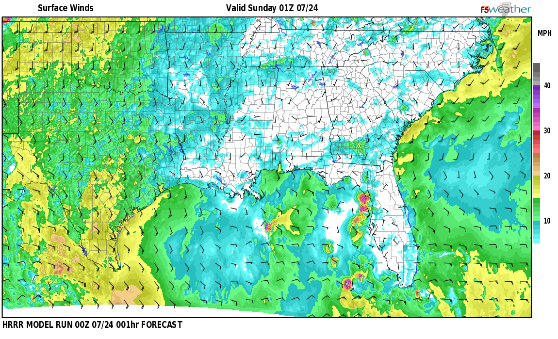 Surface wind speed map over Hardwick, AL