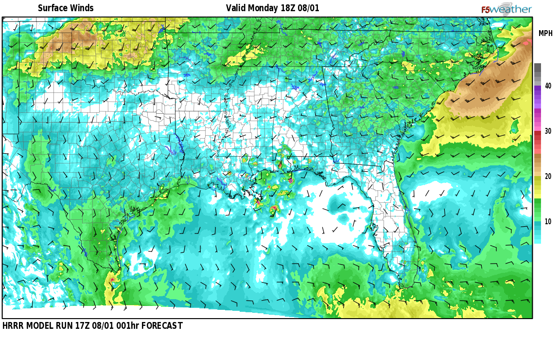 Surface wind speed map over Country Estates, AL