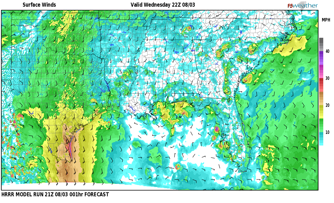 Surface wind speed map over Cambridge, AL