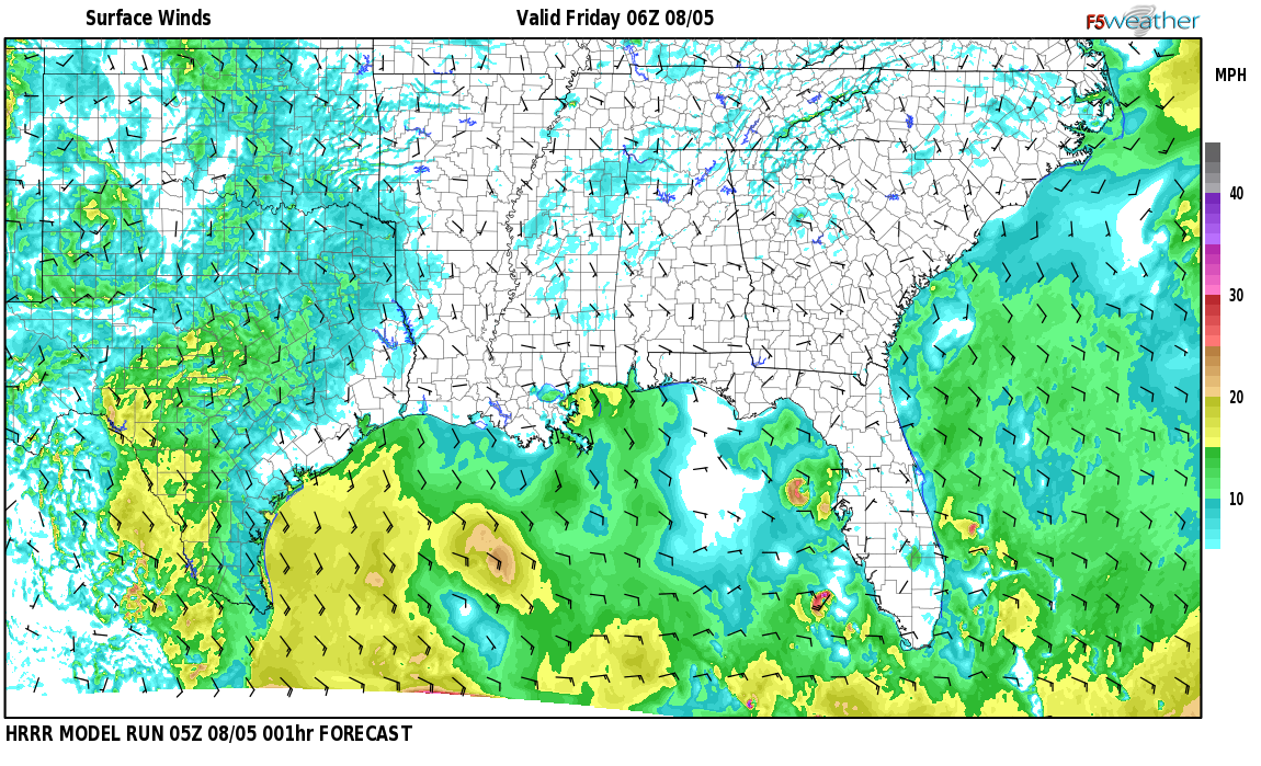 Surface wind speed map over Belchers, AL