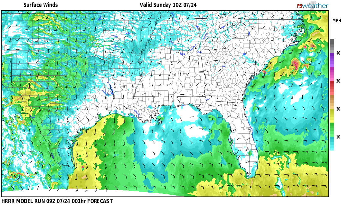 Surface wind speed map over Green Pond, AL