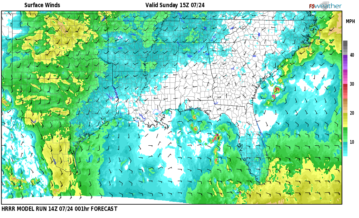 Surface wind speed map over Darling Landing, AL