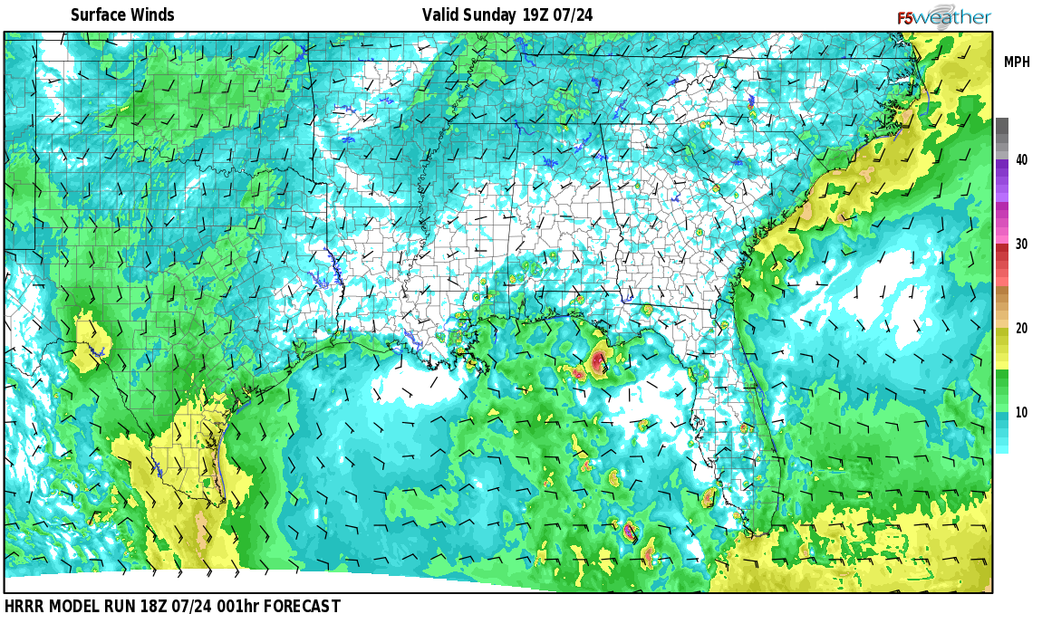 Surface wind speed map over Bread Tray Hill, AL