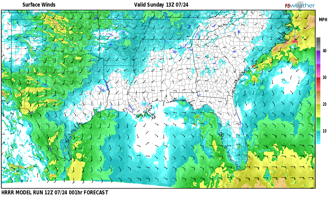 Surface wind speed map over Country Haven, AL