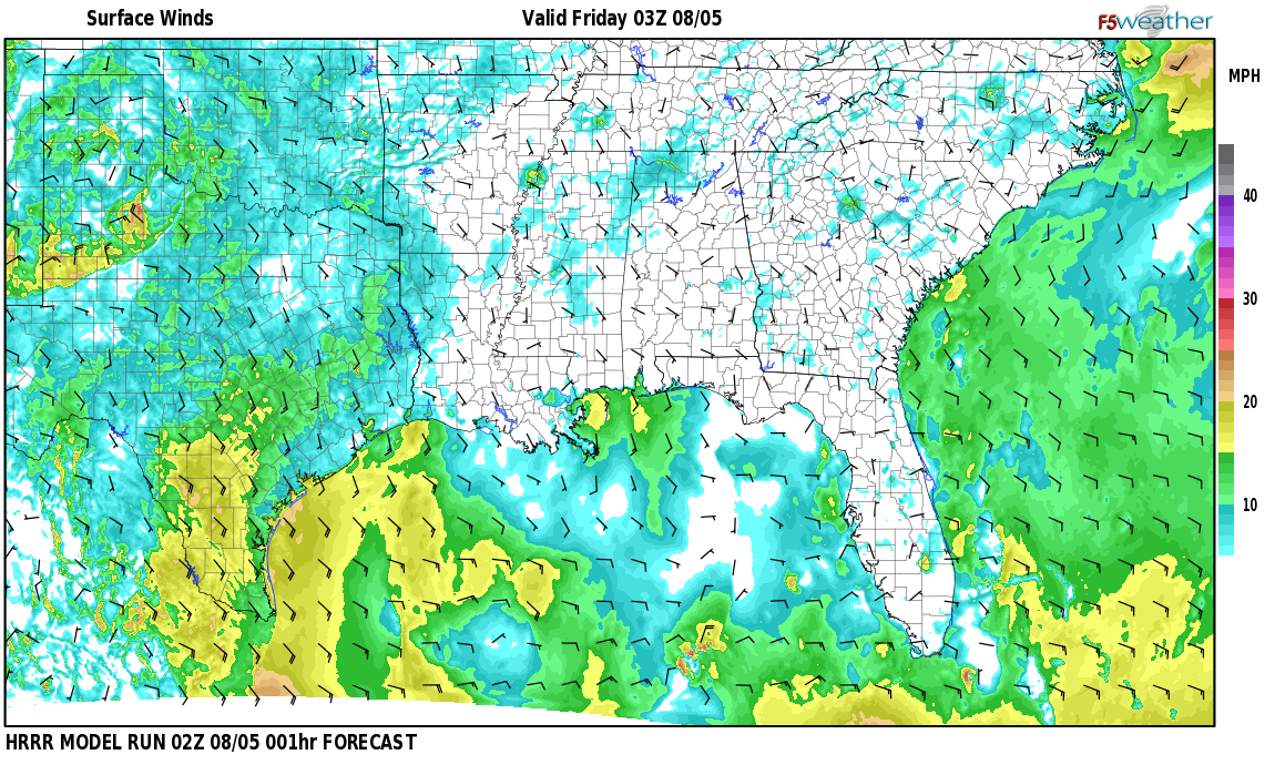 Surface wind speed map over Clopton, AL