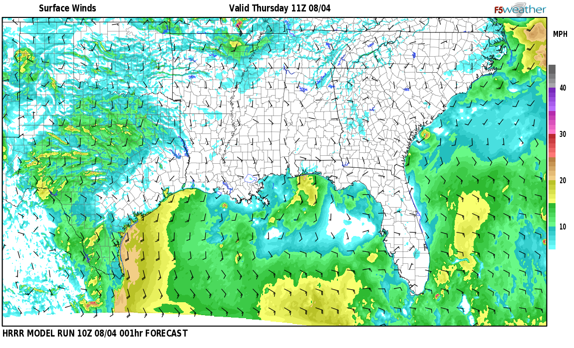Surface wind speed map over Forkland, AL