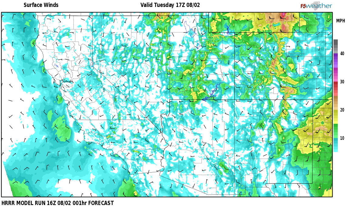 Surface wind speed map over John Padilla Settlement, NM