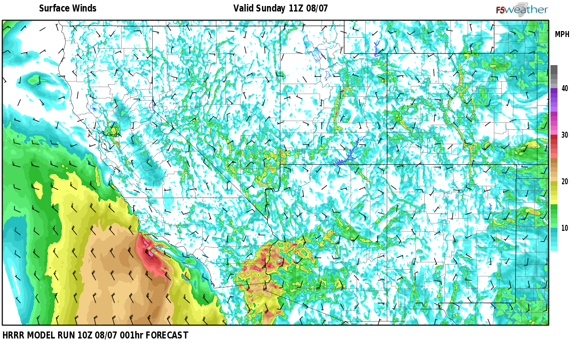 Surface wind speed map over Lucero Place, NM