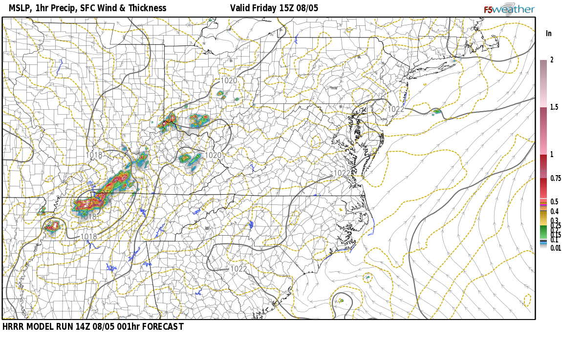 Current surface weather map around Scott County, KY