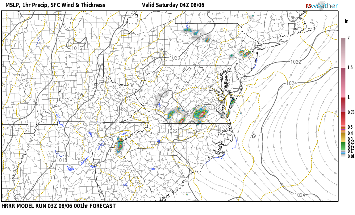 Current surface weather map around Madison County, KY