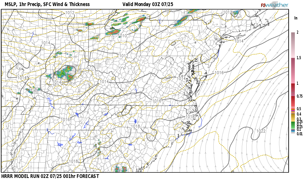 Current surface weather map around Letcher County, KY